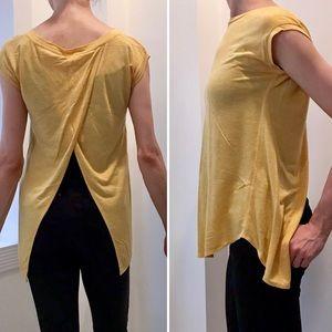 Aritzia Yellow Anvers Split Back Tshirt Top XXS/XS